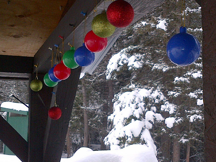 Christmas baubles decorate the January Landing shelter. Photo: David Brown