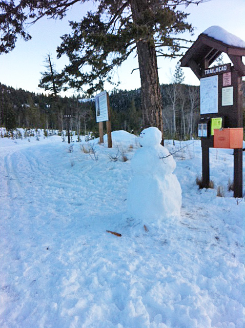 "January 18: ""Several of us braved out after the rain all morning in town to find great skiing and snowman weather at Kane."" Photo: Tracey Dunsmore"