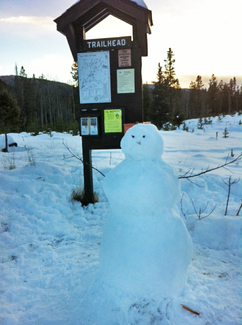 Snowman at P2, 18 January 2015. Photo: Tracey Dunsmore
