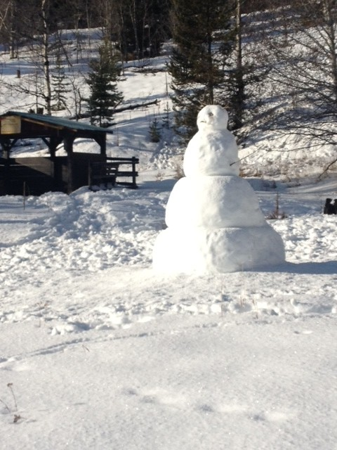 A Christmas snowman appeared at the P3 shelter.  Photo: Kate Anderson